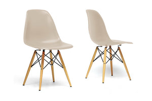 Baxton Studio Azzo Beige Plastic Mid-Century Modern Shell Chair  - Set of 2