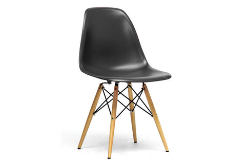 Baxton Studio Azzo Black Plastic Mid-Century Modern Shell Chair - Set of 2-Chairs-HipBeds.com