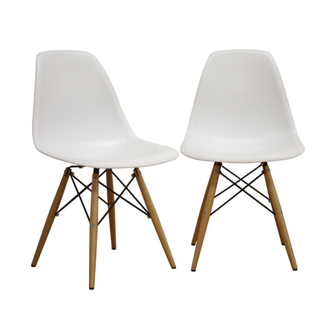 Baxton Studio DURANTE White Plastic Molded Chair - Set of 2