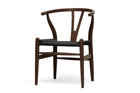 Baxton Studio Mid-Century Modern Wishbone Chair - Brown Wood Y Chair with Black Seat - Set of 2-Chairs-HipBeds.com