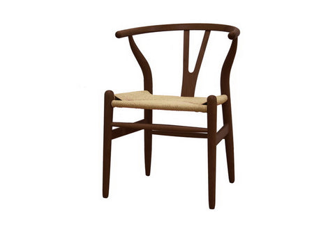 Baxton Studio Mid-Century Modern Wishbone Chair - Dark Brown Wood Y Chair - Set of 2