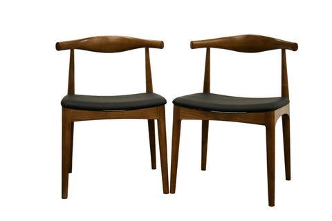 Baxton Studio Sonore Solid Wood Mid-Century Style Accent Chair Dining Chair - Set of 2-Chairs-HipBeds.com