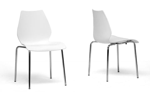 Baxton Studio Overlea White Plastic Modern Dining Chair - Set of 2-Chairs-HipBeds.com