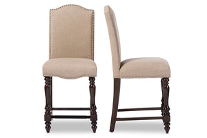 Baxton Studio Zachary Chic French Vintage Oak Brown Beige Linen Fabric Upholstered Counter Height Dining Chair - Set of 2-Table & Bar Stools-HipBeds.com