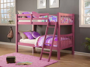 Donco Kids Twin/Twin Mission Bunk Bed Pink 9070-TTP-Bunk Beds-HipBeds.com