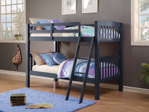 Donco Kids Twin/Twin Mission Bunk Bed Navy 9080-TTB-Bunk Beds-HipBeds.com