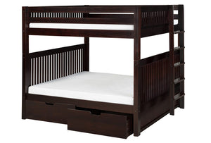 Camaflexi Bunk Bed - Camaflexi Full over Full Bunk Bed with Drawers - Mission Headboard - Bed End Ladder - Cappuccino Finish - C1612L_DR-Bunk Beds-HipBeds.com