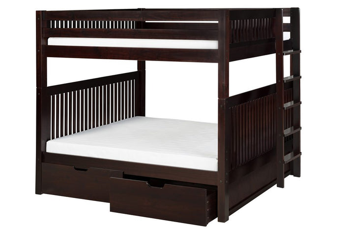 Camaflexi Bunk Bed - Camaflexi Full over Full Bunk Bed with Drawers - Mission Headboard - Bed End Ladder - Cappuccino Finish  - C1612L_DR