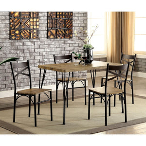 Furniture Of America Tolydo 5Pc Casual Dinner Set Gray & Dark Bronze-Dining Chairs-HipBeds.com
