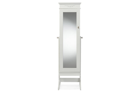 Baxton Studio Bimini White Finish Wood Crown Molding Top Free Standing Full Length Cheval Mirror Jewelry Armoire