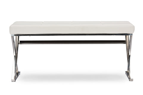 Baxton Studio Herald Modern and Contemporary Stainless Steel and White Faux Leather Upholstered Rectangle Bench-Benches-HipBeds.com