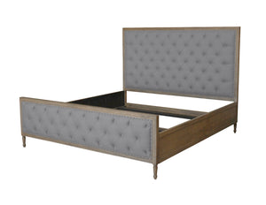 Lennox Design Chelsea Tufted Linen Bed, Queen - Grey-Platform Beds-HipBeds.com