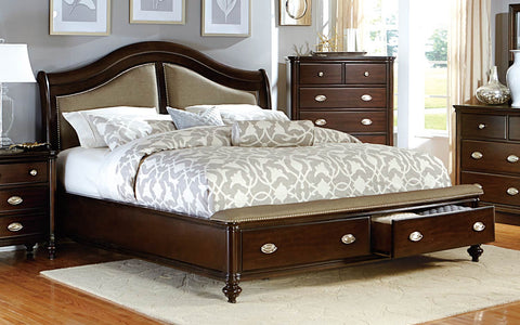 Homelegance Marston Upholstered Platform Storage Bed - Dark Cherry-2615DC-1-Platform Beds-HipBeds.com