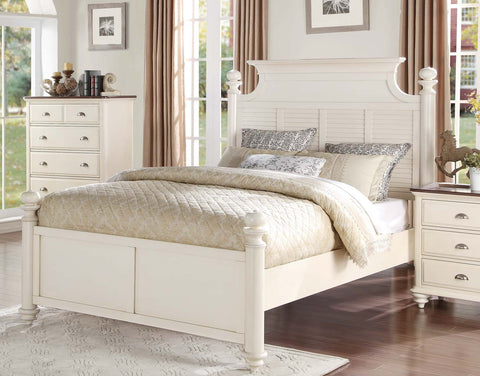 Homelegance Floresville Platform Bed - Antique White - 1821-1-Platform Beds-HipBeds.com