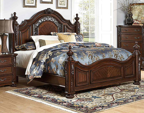 Homelegance Augustine Court Bed - Rich Brown Cherry - 1814-1-Platform Beds-HipBeds.com