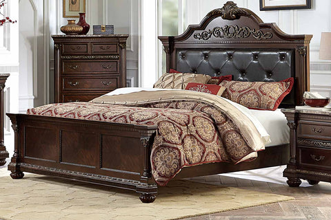 Homelegance Russian Hill Upholstered Bed - Warm Cherry-1808-1-Platform Beds-HipBeds.com