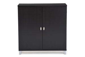 Baxton Studio Marcy Modern and Contemporary Dark Brown Wood Entryway Handbags or School Bags Storage Sideboard Cabinet-Cabinets-HipBeds.com