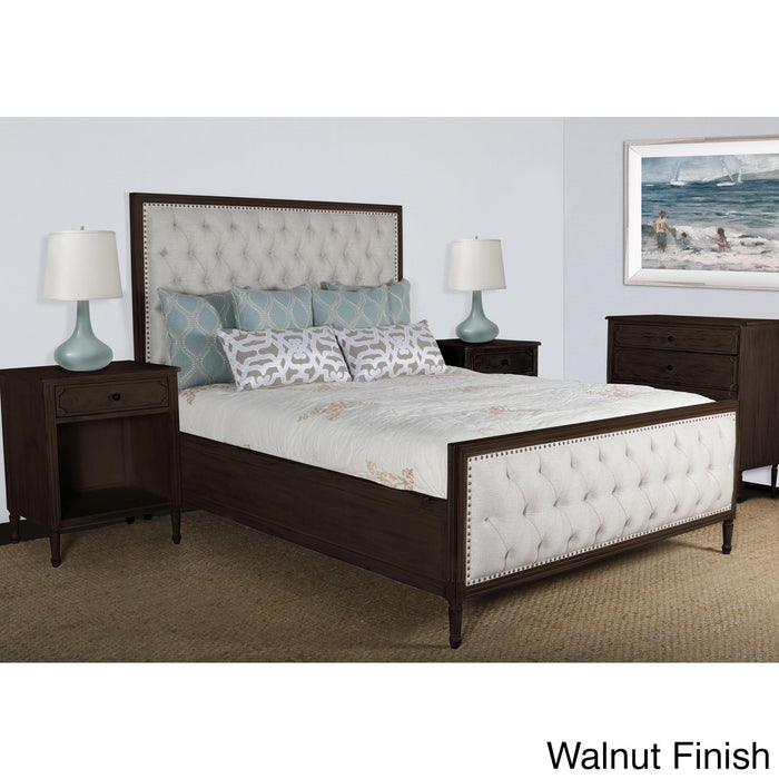 Lennox Design Hannah Tufted Bedroom Set, Queen - Walnut