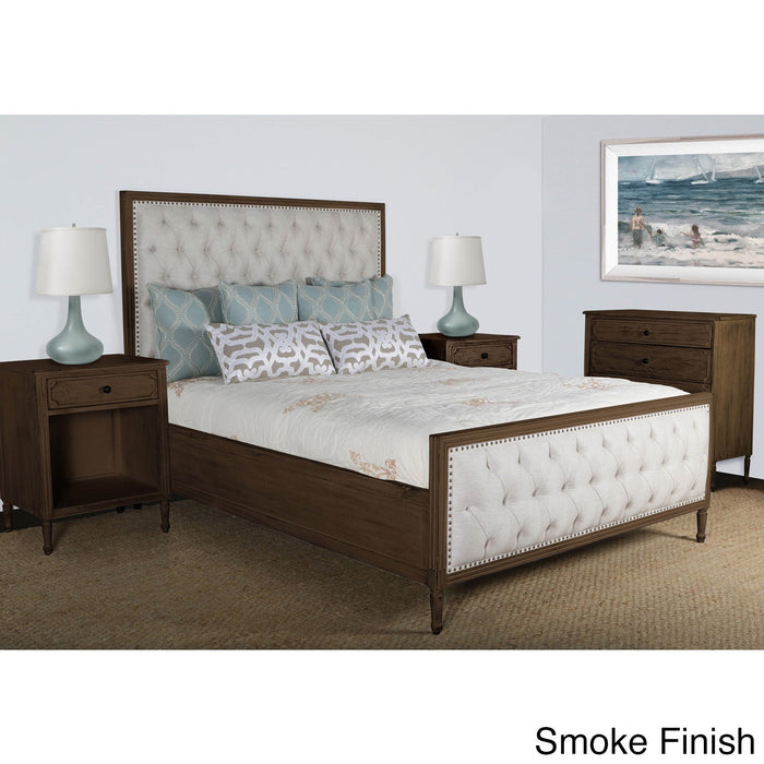 Lennox Design Hannah Tufted Bedroom Set, King - Smoke
