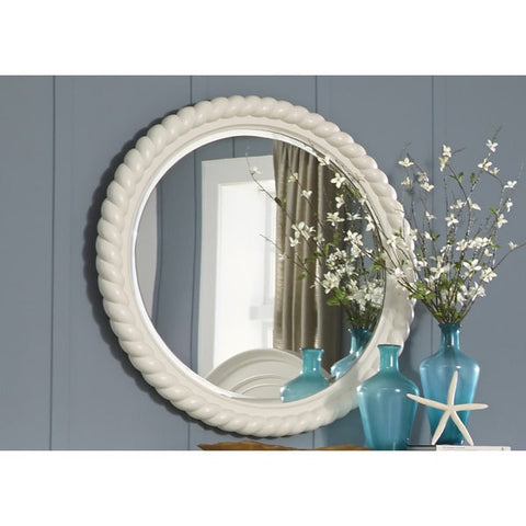 Liberty Furniture Harbor White Cottage Round Rope Mirror - 631-BR52-Mirrors-HipBeds.com