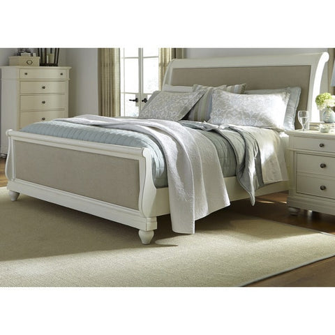 Liberty Furniture Harbor White Cottage Upholstered Sleighbed - 631-BR-XSL-Sleigh Beds-HipBeds.com