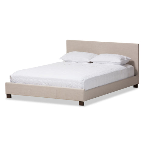 Baxton Studio Elizabeth Beige Panel-Stitched Full Size Platform Bed - 1