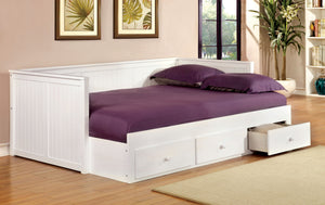 Furniture Of America Adeline Cottage Style Daybed With Drawers In White-Day Beds-HipBeds.com