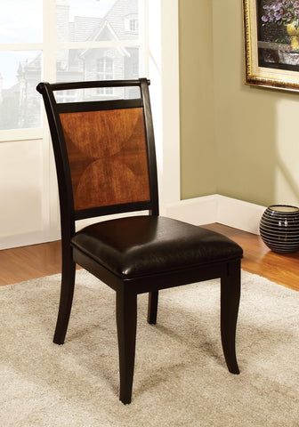 Furniture Of America Danali 2Pc Panel Back Dinner Chair Acacia & Black-Dining Chairs-HipBeds.com
