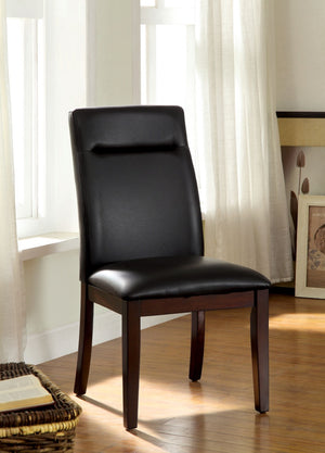 Furniture Of America Norri 2Pc Tufted Leatherette Dinner Chair Dark Cherry-Dining Chairs-HipBeds.com