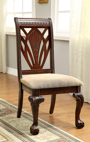 Furniture Of America Afeena 2Pc Formal Dinner Arm Chair Cherry-Dining Chairs-HipBeds.com