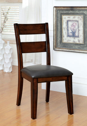Furniture Of America Rina 2Pc Leatherette Dinner Chair Dark Cherry-Dining Chairs-HipBeds.com