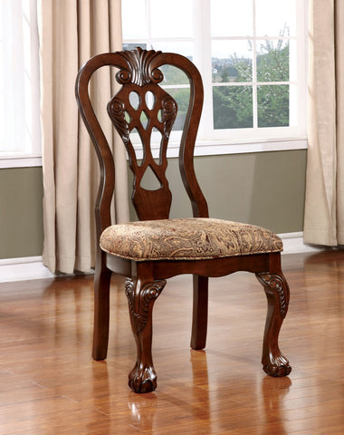 Furniture Of America Casteena 2Pc Traditional Dinner Chair Brown Cherry-Dining Chairs-HipBeds.com