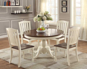 "Furniture Of America Janessa Two Tone 18"" Extendable Leaf Dinner Table Vintage White & Dark Cherry-Dining Tables-HipBeds.com"