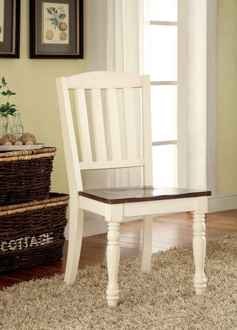 Furniture Of America Janessa 2Pc Two Tone Dinner Chair Vintage White & Dark Cherry-Dining Chairs-HipBeds.com