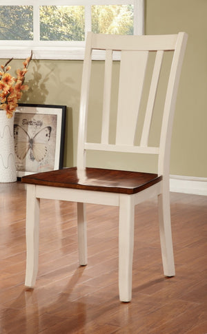 Furniture Of America Vistal 2Pc Wood Panel Dinner Chair Cherry & Vintage White-Dining Chairs-HipBeds.com