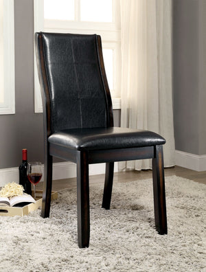 Furniture Of America Fidall 2Pc Curved Back Leatherette Dinner Chair Dark Walnut-Dining Chairs-HipBeds.com