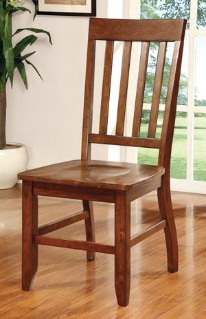 Furniture Of America Caberra 2Pc Slat Back Dinner Chair Dark Oak-Dining Chairs-HipBeds.com