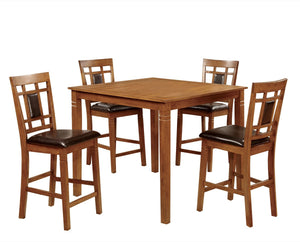 Furniture Of America Alonso 5Pk Counter Height Dining Set Light Oak-Dining Chairs-HipBeds.com