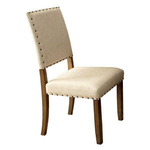 Furniture Of America Valenz 2Pc Nailhead Trim Dinner Chair Natural Tone-Dining Chairs-HipBeds.com