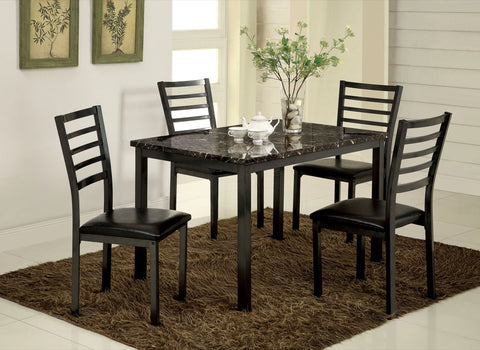 Furniture Of America Dana Faux Marble Dinner Table Black-Dining Tables-HipBeds.com