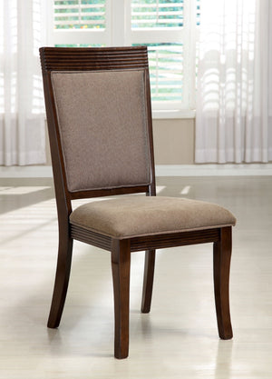 Furniture Of America Fermin 2Pc Fabric Padded Dinner Chair Walnut-Dining Chairs-HipBeds.com