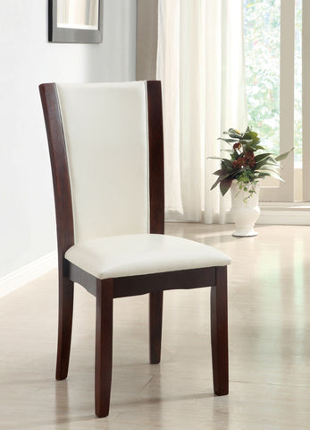 Furniture Of America Adella 2Pc Two Tone Leatherette Dinner Chair Dark Cherry/White-Dining Chairs-HipBeds.com