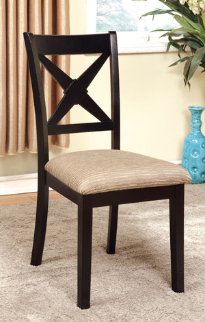 Furniture Of America Adelina 2Pc Criss-Cross Back Dinner Chair Dark Oak & Black-Dining Chairs-HipBeds.com