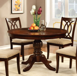 Furniture Of America Octavius Round Pedestal Base Dinner Table Brown Cherry-Dining Tables-HipBeds.com