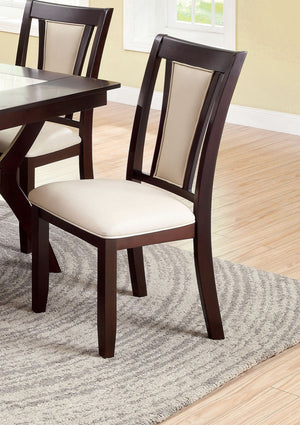 Furniture Of America Camino 2Pc Leatherette Dinner Chair Ivory-Dining Chairs-HipBeds.com