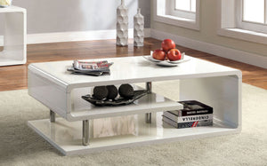 Furniture Of America Heredina Curved Shelf Coffee Table White-Coffee Tables-HipBeds.com