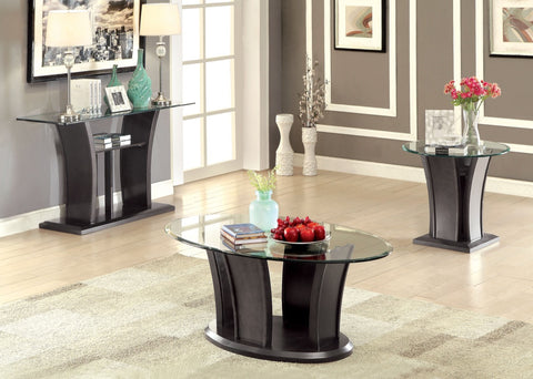Furniture Of America Jenia Flared Panel Glass Top Sofa Table Gray-Tables-HipBeds.com