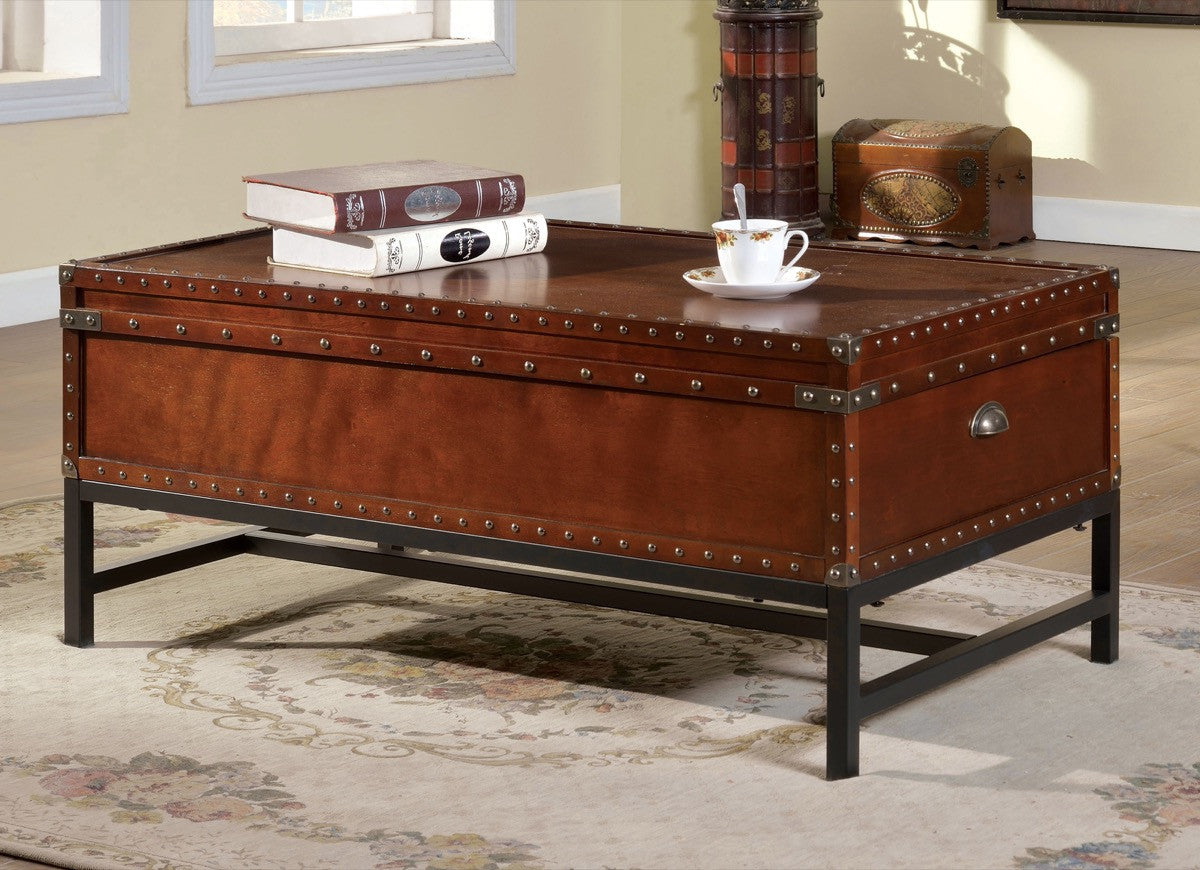 Furniture Of America Brier Chest Inspired Coffee Table Cherry Coffee Tables HipBeds.com  ...