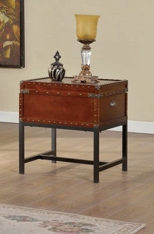 Furniture Of America Brier Chest Inspired End Table Cherry-End Tables-HipBeds.com