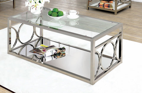 Furniture Of America Esparra Mirror Shelf Coffee Table Chrome-Coffee Tables-HipBeds.com